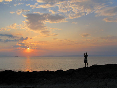 Capturing the sunset.