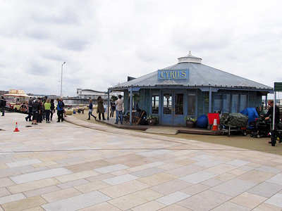 Filming Sky's Cafe on Weston-super-Mare sea front.
