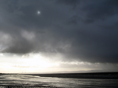 Rainstorm approaching the coast at Brean. 2nd Jan 2012.