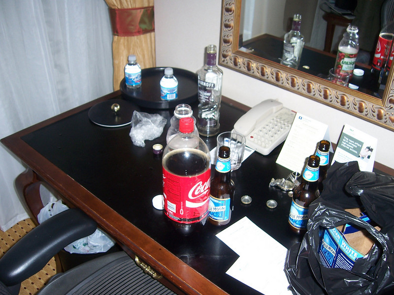 OK, now to the fun.  Little hotel room drinking, anyone?