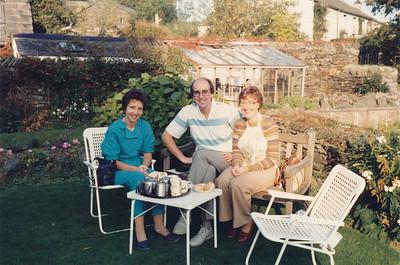 Having an English Cream Tea at Near Sawrey, Lake District (Phyllis wearing a Peter Rabbit bib)