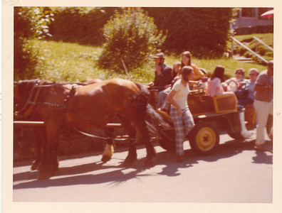 Micki (with cast on leg) getting off pony cart
