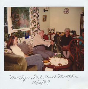 Marilyn, Dad, Aunt Martha at Gwyneth and Peter's house