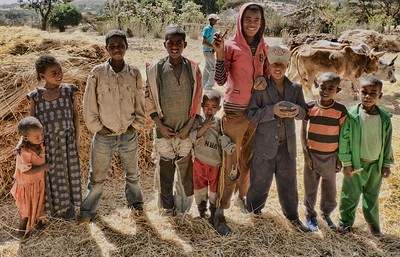 A group of children that I met on the road to Adadi Mariam, Tiya, and Melek Kuntre on my 2nd day in Ethiopian.  This was south of Addis.