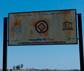 UNESCO World Heritage sign at entrance to Tiya