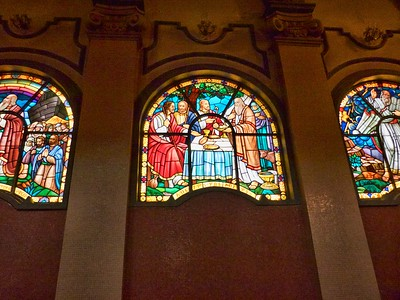 Some of the beautiful stained glass panels