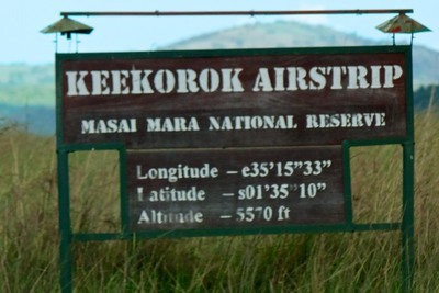 Our entry point into the Mara shows information about the airport and where we are.