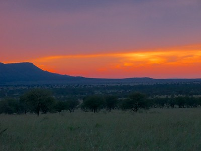 Sun setting from our Serengeti tented camp.