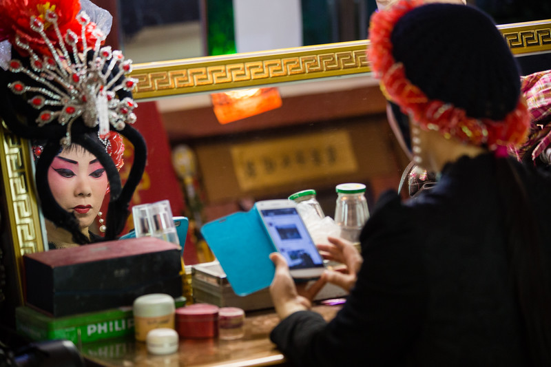 A Sichuan Opera performer prepares for a show in Chengdu, China.