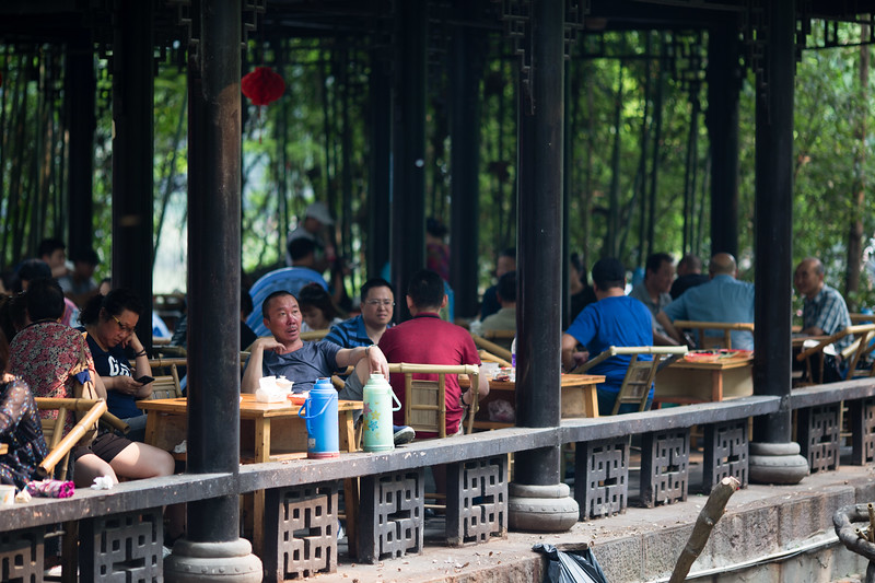 Locals relaxing in People's Park in Chengdu, China.