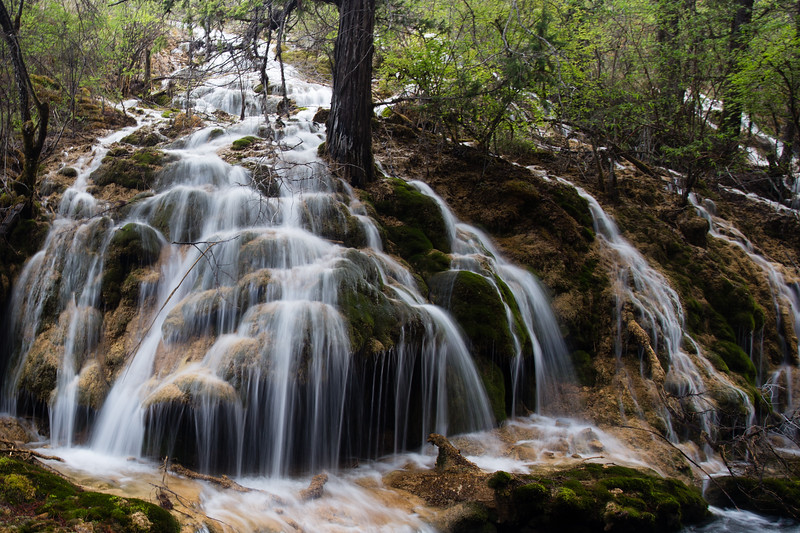 A waterfall in Jiuzhaigou National Park in Sichuan, China.