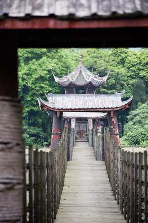Bridge between two temples at the Dujianyan Irrigation system in Sichuan, China.
