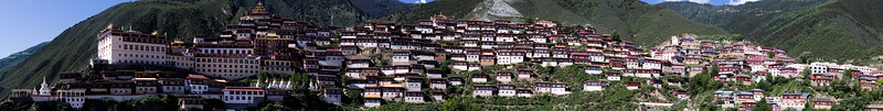 Panorama of the temples at Baiyu in Sichuan, China.
