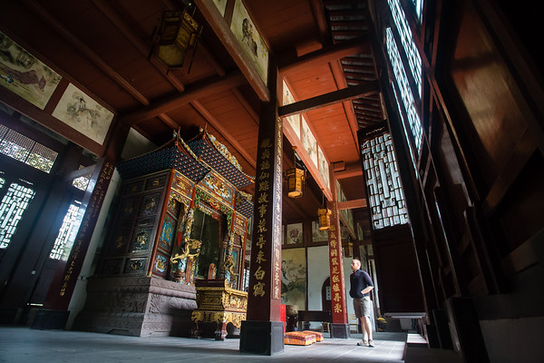 Inside a temple at the Qingyang Monastery complex in Chengdu, Sichuan, China.