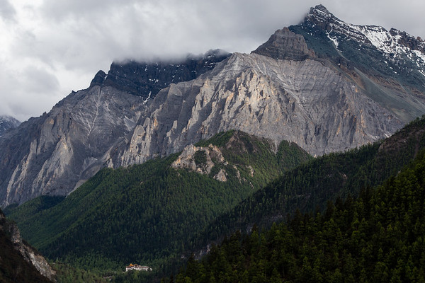 Far-off view of Chonggu Temple inside Ya Ding National Park in Sichuan, China.