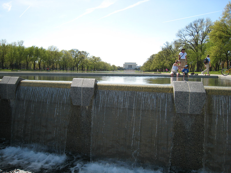 The reflecting pool empties into the WWII memorial at this end.