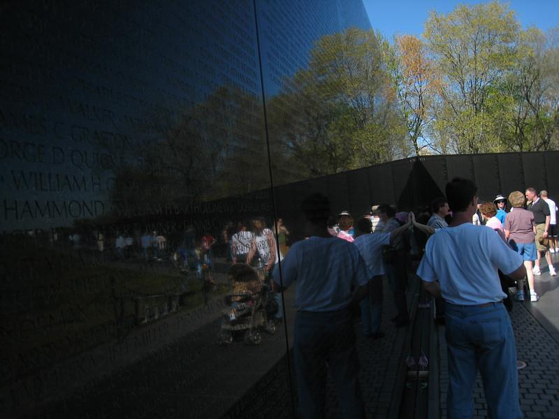 The Vietnam War memorial wall.