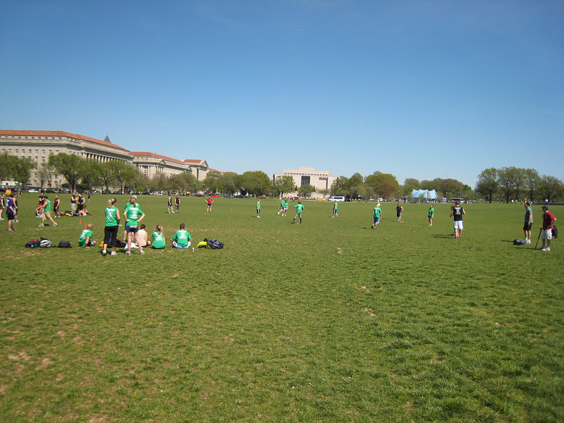 It turns out kickball is insanely popular on the grass around the Washington Monument. There is an organized league and they all have uniforms. They seem to take it very seriously.