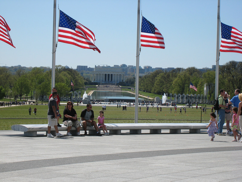 The reflecting pool. Flags are at half mast everywhere due to the Virginia Tech tragedy.