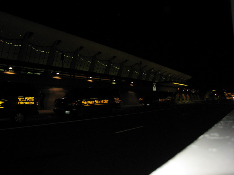 Dulles Airport in the dark.