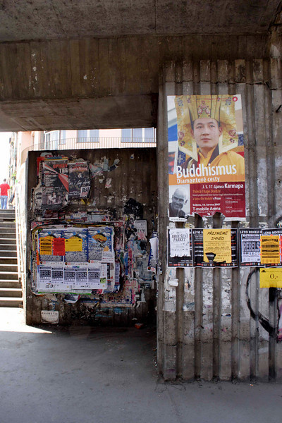 Posters under overpass near Vltavska metro station Prague August 2007