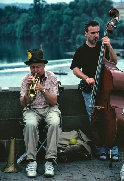 Street musicians Charles Bridge Prague