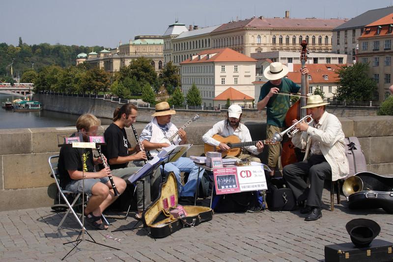 Band playing on Charles Bridge Prague