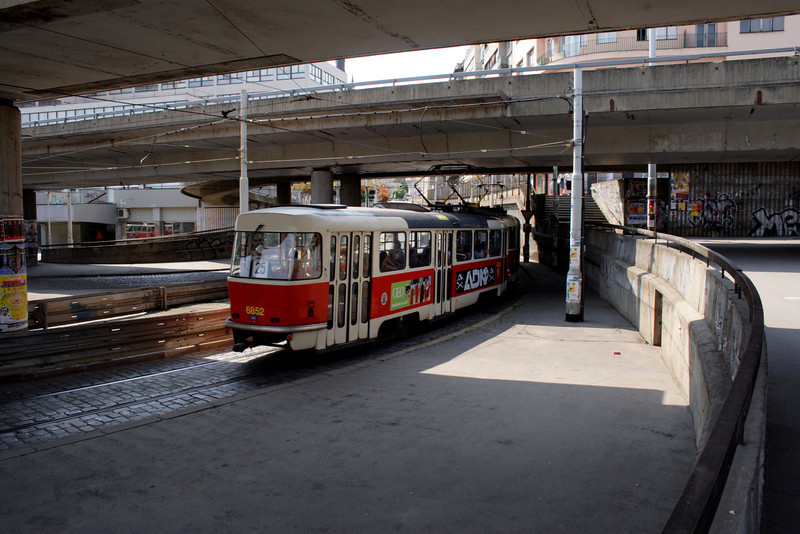 Tram near Vltavska metro station Prague