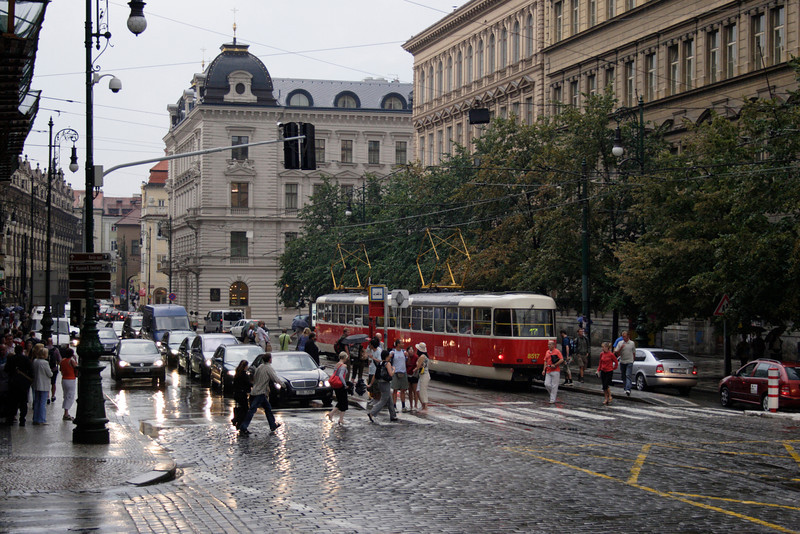 Tram in Prague on a rainy evening August 2007