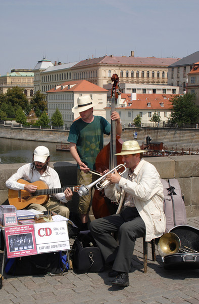 Band playing on Charles Bridge Prague August 2007