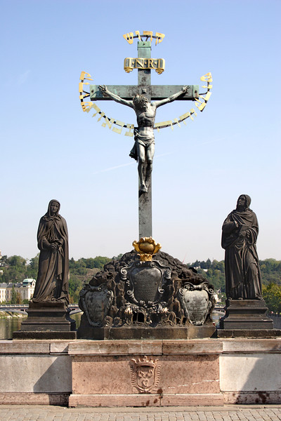 17th century crucifixion on Charles Bridge Prague