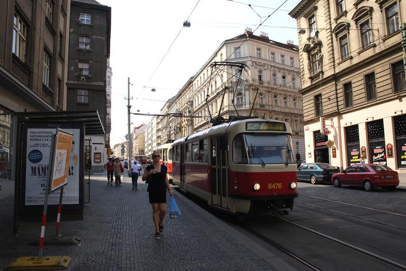 Tram in Vltavska suburb Prague