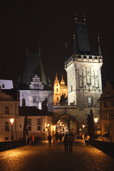 Little Quarter Tower Charles Bridge Prague at night August 2007