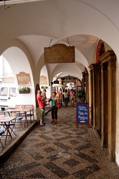Arcade with cafes and bars near Little Quarter Square Prague