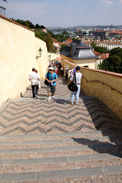 Old Castle steps down to Malostranska Metro Prague