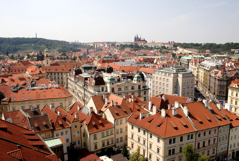 Prague skyline view from Old Town Hall Tower