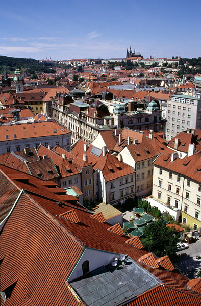 Prague rooftops view from Old Town Hall Tower