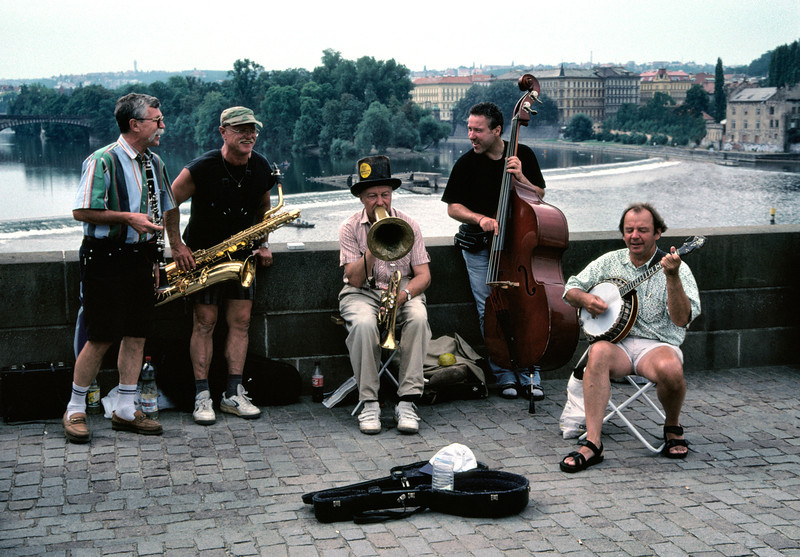 Street musicians Charles Bridge Prague