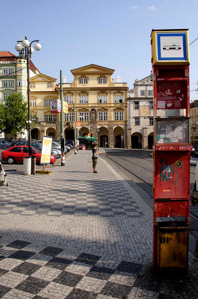Tram stop at Little Quarter Square Prague August 2007