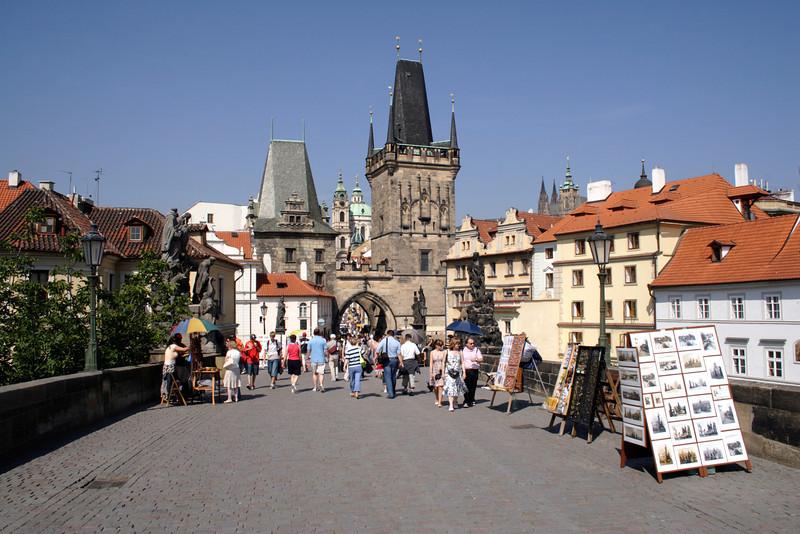 On Charles Bridge towards Little Quarter Prague