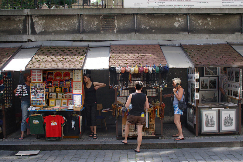 Street Market near the Old Jewish Cemetery Prague August 2007