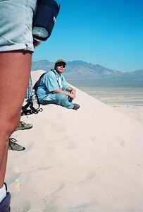 10/5/97 Robert, taking a breather on the way up the Kelso Dunes. East Mojave National Preserve, San Bernardino County, CA