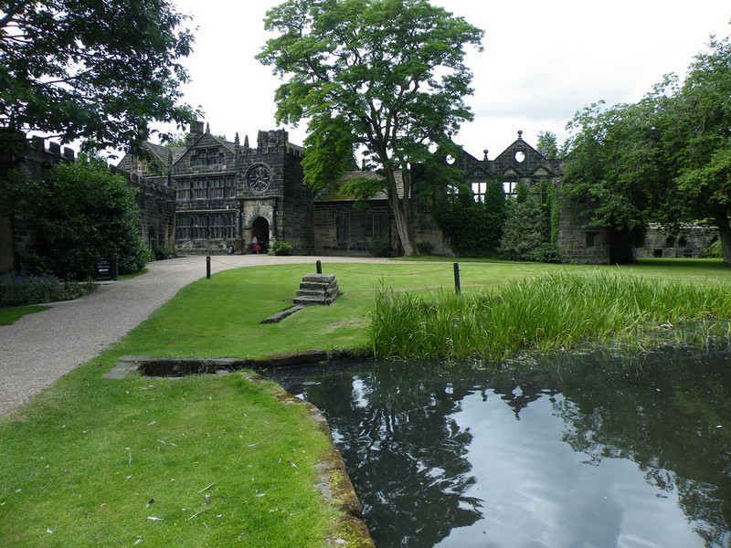East Riddlesden Hall as we approached past the lake. Notice the mounting block in the middle of the picture.