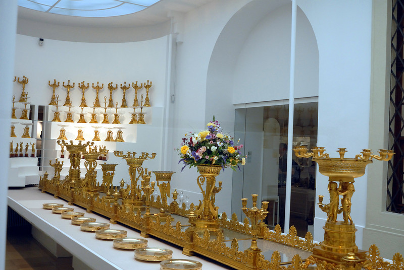 One of the center pieces with all the candleabra's in the background at the Hofberg : (Imperial Palace) Schatzkammer (National treasury), Vienna Austria