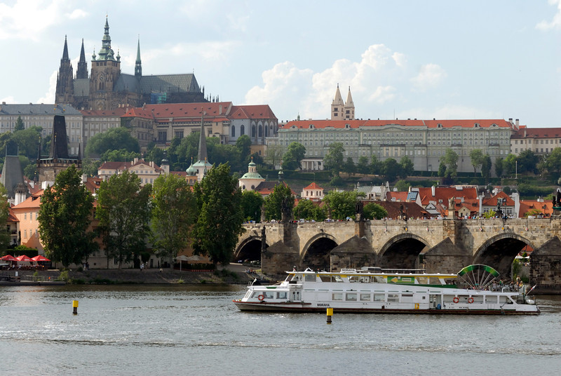 Vltava River looking West with Hradcany (Prague Castle) in the background. Old town Prague, Czech Republic