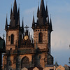 Church of our Lady before Tyn at dusk in Va'clavske' na'mesti (Wenceslas Square) Prague Czech Republic