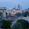 Sze'chenyi La'nchi'd & Szent Istva'n-bazilika, Chain Bridge and St Stephen Basilica, still going up on funicular, Budapest Hungary