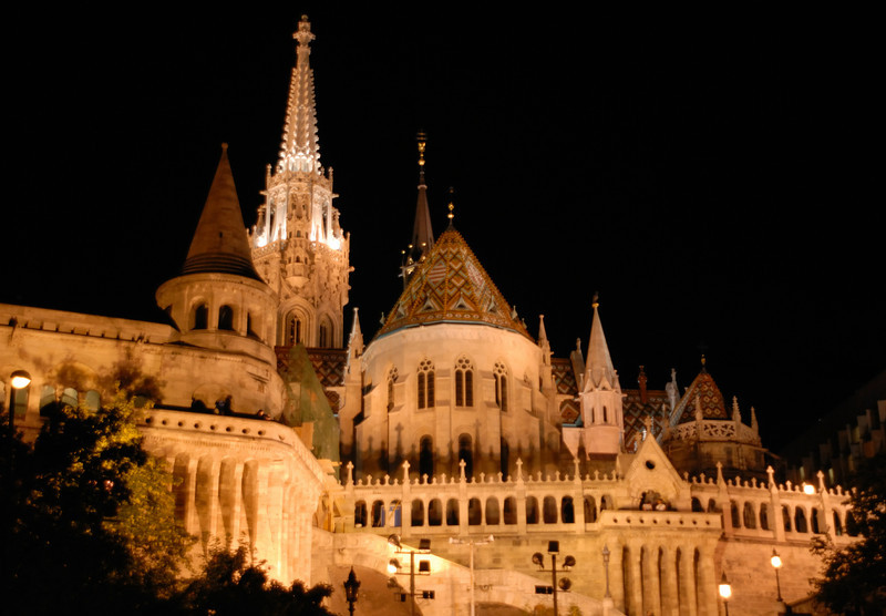 Hala'scba'stya: the fishermans Bastion in front of Matthias' church, Buda Hill, Budapest Hungary