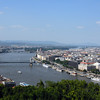 Panoramic view of the Danube, Chain bridge and Pest. Budapest Hungary