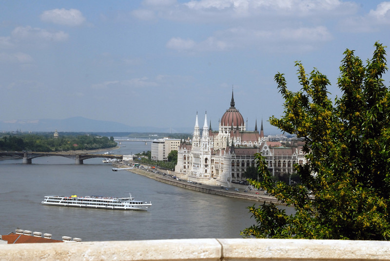 Orszo'gha'z : Parliament Building day from across the Danube on the Buda side. Budapest Hungary